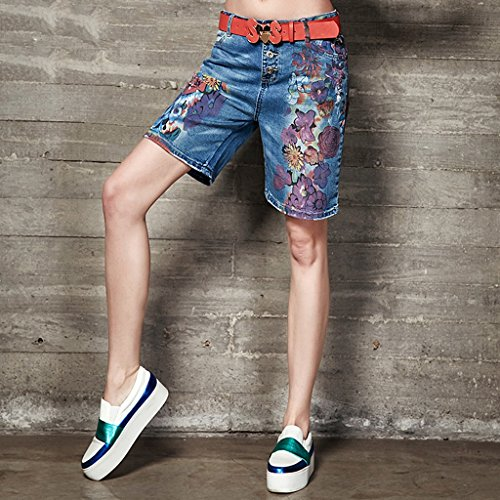 coton QI bleu Short Size d'impression en short Femme femme BUSINE denim 28 Vtements FANG TXPTrv