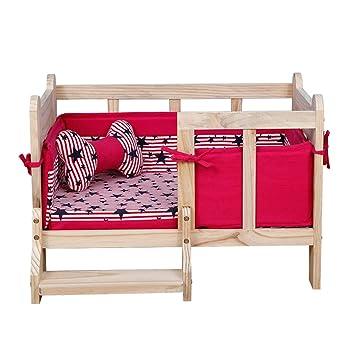 Cama para perros 3 en 1, Cama para animales de madera, Con alfombrilla +