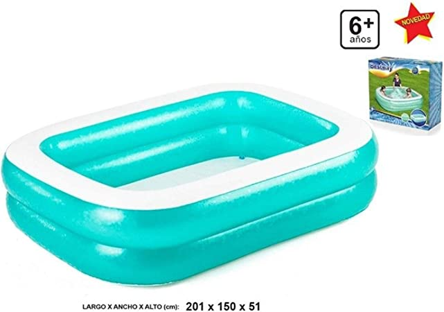Acan Piscina Hinchable Rectangular de 201 x 150 x 51 cm: Amazon.es ...