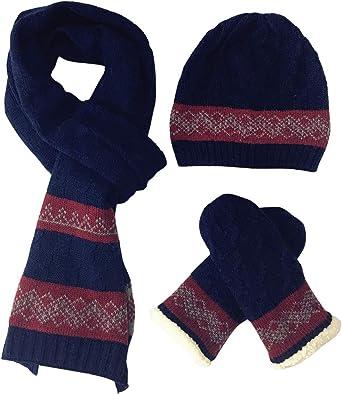 FEOYA Damen Schal M/ütze Handschuhe Set Warme Winterset Gestrickt Beanie Schnee Hut