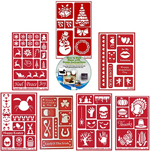 Holiday 7 Pack Reusable Stencils: Christmas Multi-Pack, Valentines, Easter, St. Pats, Halloween & Thanksgiving Stencils for Paint or Glass Etching + How to Etch CD -
