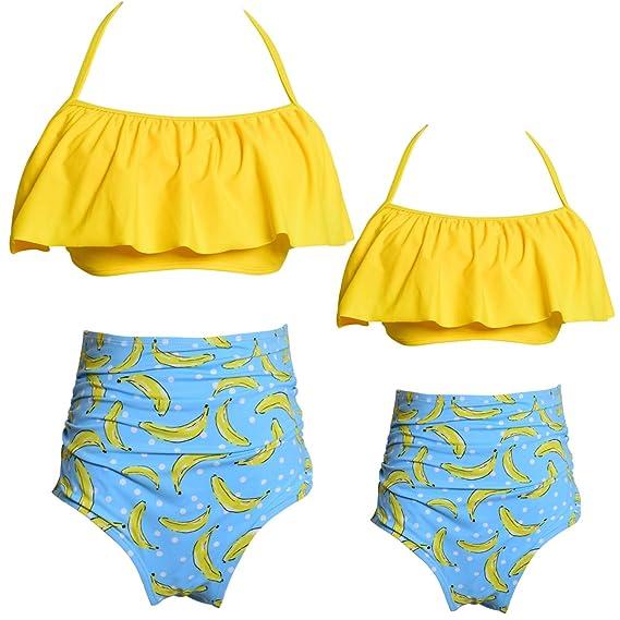 a50a174ad903 Bwiv Traje de Baño de 2 Piezas Bikini 2019 Halter Ruffles Volante Bikini  Top Parte Inferior Alta Cintura para Madres y Hijas