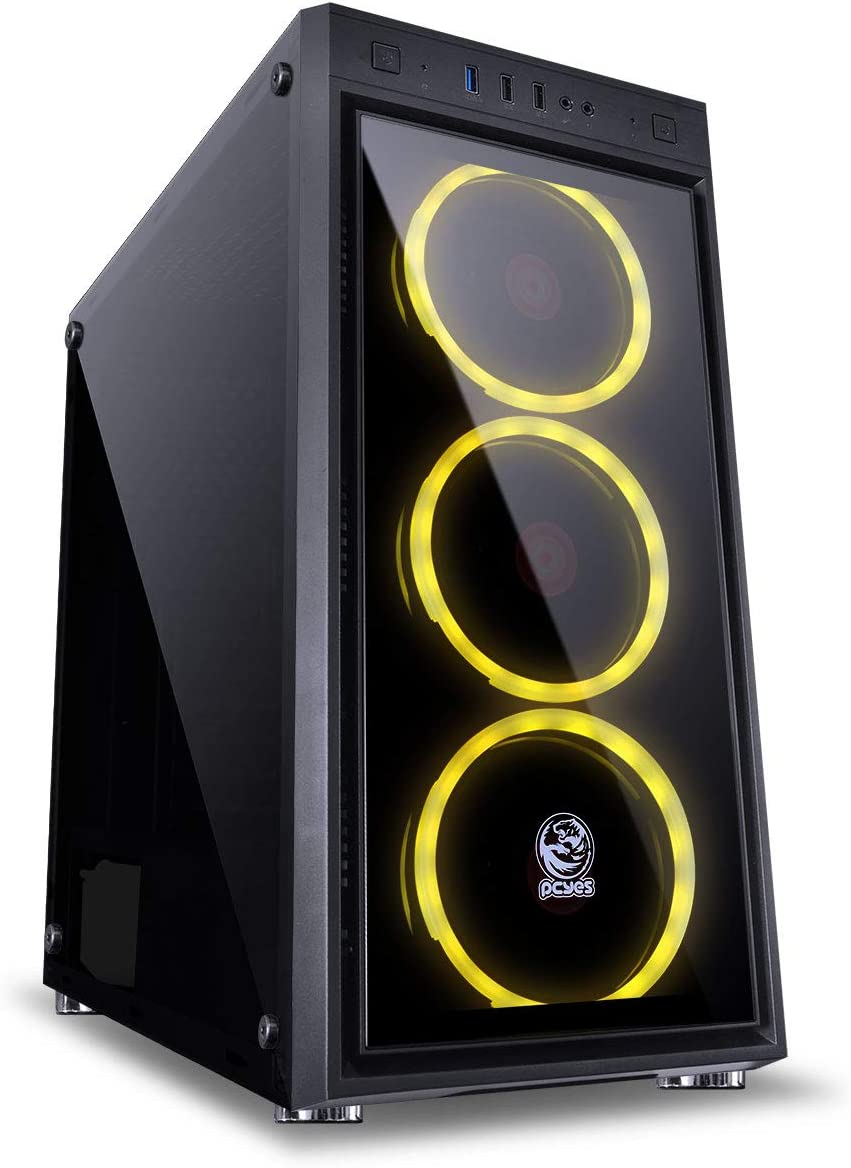 RGB Pcyes Jupiter Astros Desktop Mid Tower Computer Case with Glass Window Side 3 Fans