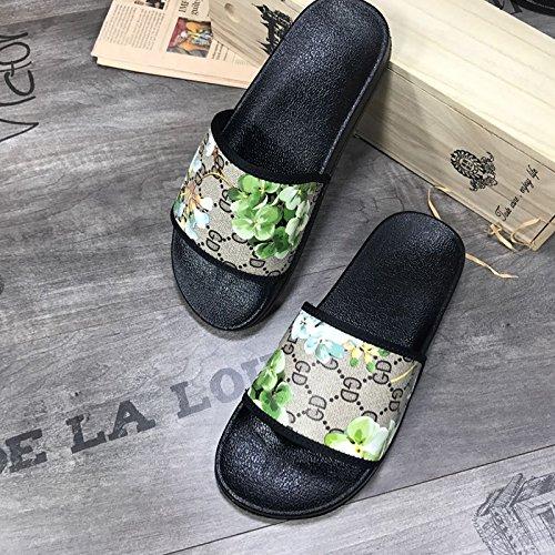 Calzado En Moda Las Parejas Word Flower Zapatilla Xing Sandalias Hombre Verano Playa Abejas Impresa Hombres Inicio Mujeres Lin De Y Exteriores Green Interiores HPXwwUx6q