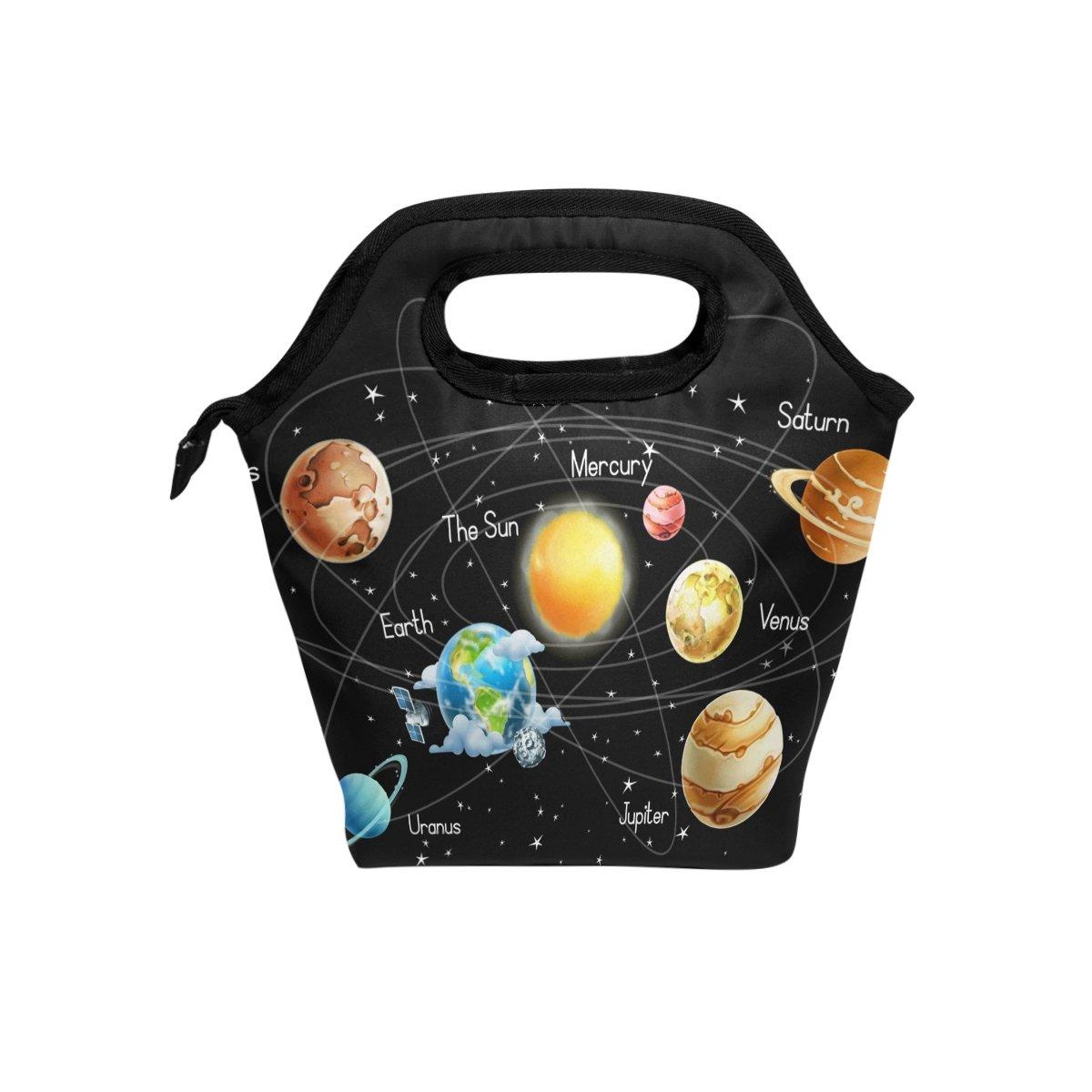 JOYPRINT Lunch Box Bag, Universe Galaxy Solar System Insulated Cooler Ice Lunchbox Tote Bag Handbag for Men Women Kids Adult Boys Girls