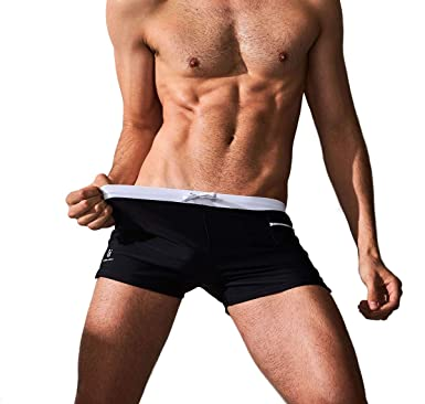 0161b674e3e CAESER ARCHY Professional Men's Swimming Trunks Boxer Brief Swimsuit,Black,US  M/Asia