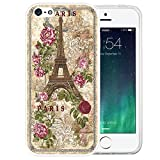 iphone 5 case vintage floral - iPhone SE Case, LAACO Beautiful Clear TPU Case Rubber Silicone Skin Cover for iPhone 5/5S/SE - Vintage British royal court Rose and Paris
