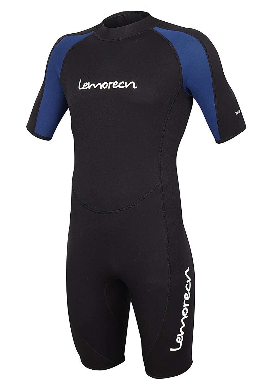 Lemorecn Wetsuits Adult's Premium Neoprene Diving Suit 3mm Shorty Jumpsuit (3035blackblueS) by Lemorecn