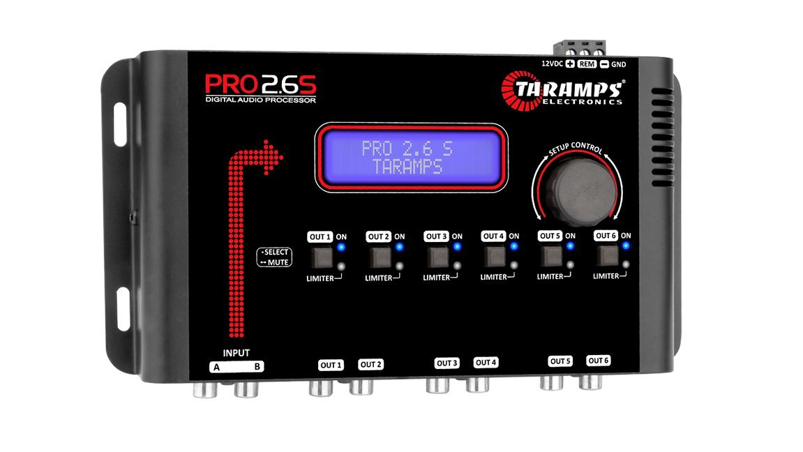 TARAMPS Car Digital Audio Processor With Dsp 2 Inputs And 6 Independent Outputs W/3 Band Parametric Eq