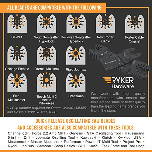 Quick Release Oscillating Saw Blades - Platinum Pack Multitool Bi-Metal Blade for Fein Multimaster, Dewalt, Bosch, Dremel Multi Max, Milwaukee, Makita, Rockwell Sonicrafter, Porter Cable Power Tool by Ryker Hardware (Image #6)
