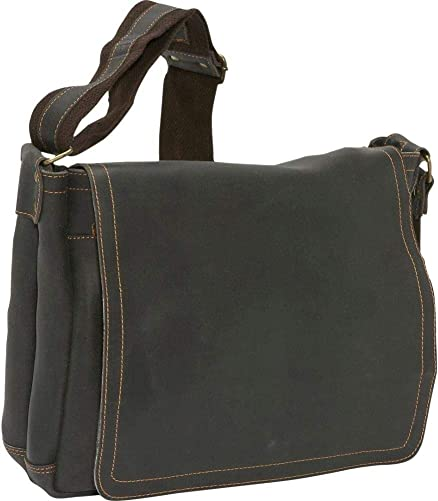 David King Distressed North South Leather Messenger Bag in Distressed Black