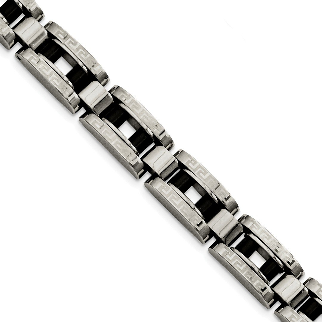 ICE CARATS Stainless Steel Black Plated Greek Key 8.5 Inch Bracelet 8.50 Men Fashion Jewelry Dad Mens Gift Set