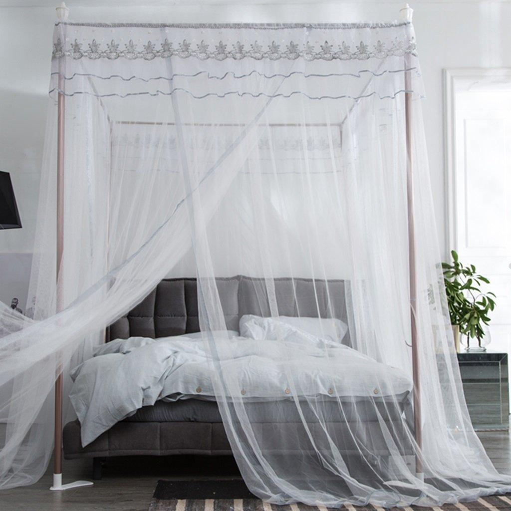 スクエアトップモスキートネットステンレススチールブラケット3つの開口部を持つダブルベッドに適したアンチバイツ夏の寝具 (色 : 白, サイズ さいず : 1.5m(5ft)) B07RKMC7XD 白 1.5m(5ft)