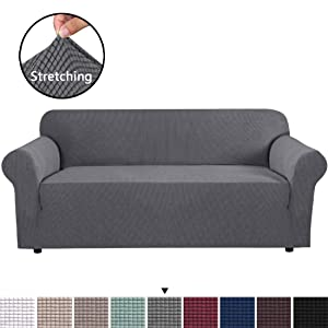 H.VERSAILTEX 1 Piece Sofa Cover Jacquard Stretch Sofa Slipcover Oversized Furniture Cover for Living Room, Form Fitted Skid Resistance Machine Washable Lounge Cover for 3-4 Seater (XL Sofa, Gray)