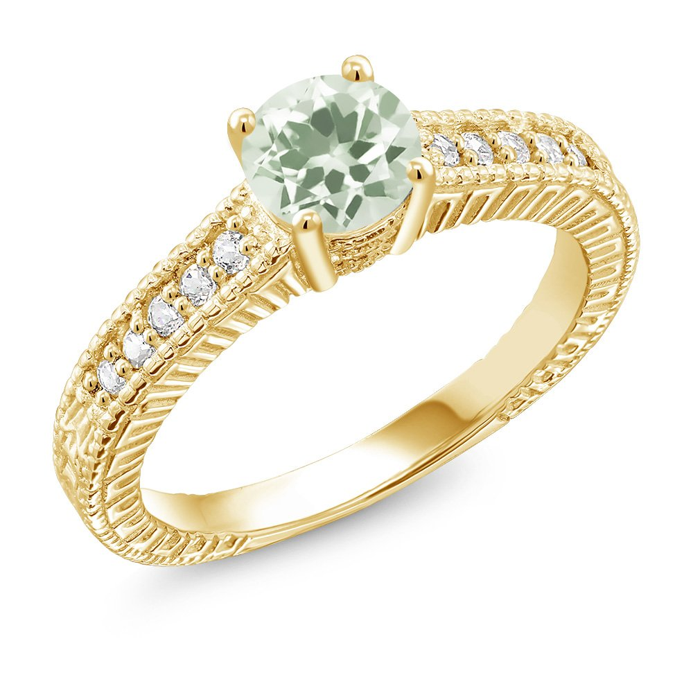Gem Stone King 1.10 Ct Green Prasiolite White Created Sapphire 18K Yellow Gold Plated Silver Ring Available in size 5,6,7,8,9