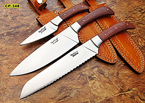 CP-348, Custom Handmade Hi Carbon Steel Chef Knife Set – Best Quality Jean Micarta Handle