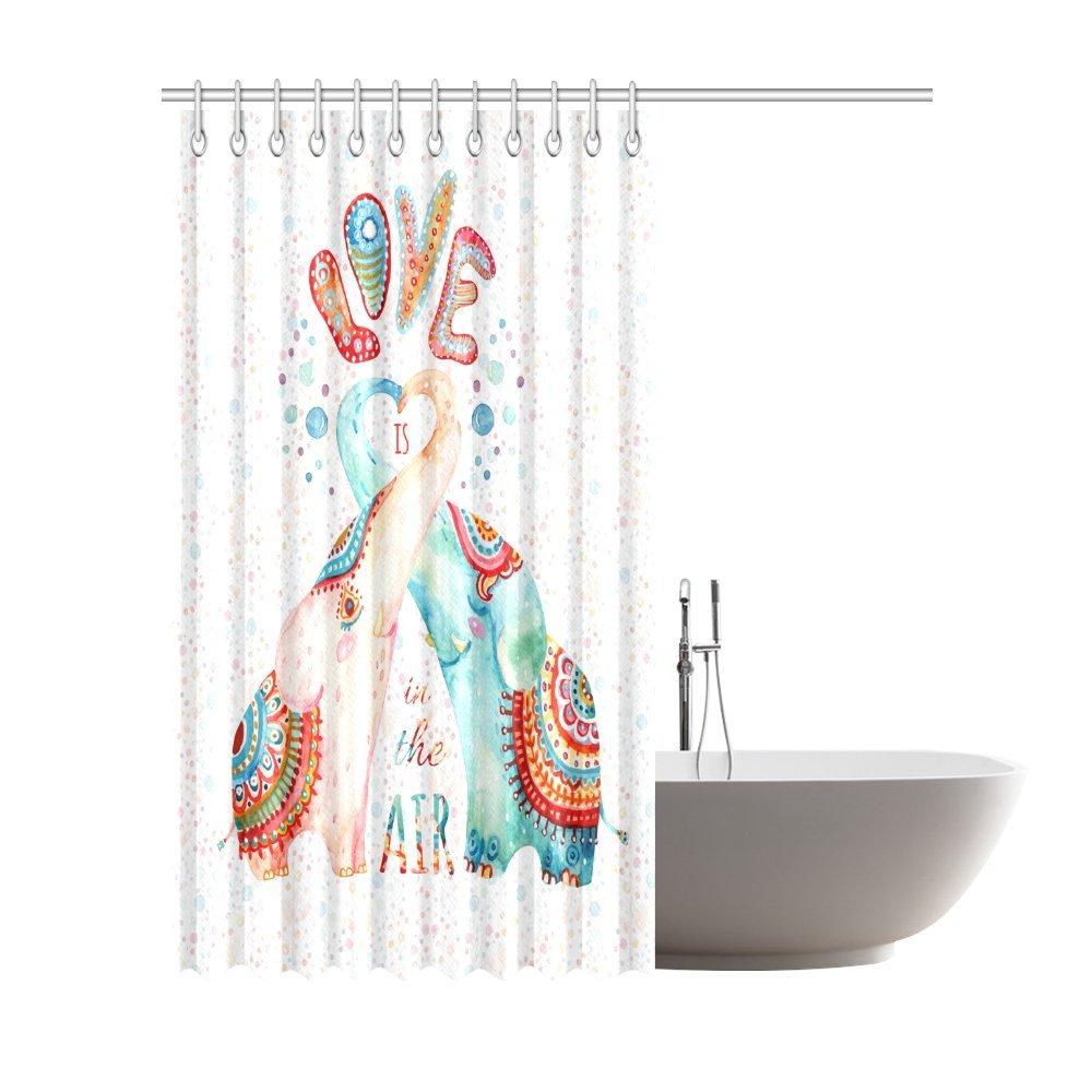 InterestPrint Indian Mandala Style Elephants Lovely Peacocks House Decor Shower Curtain for Bathroom 66 x 72 Inches Decorative Bathroom Shower Curtain Set with Rings
