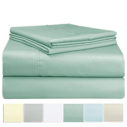 Exceptionnel 400 Thread Count Sheet Set, 100% Long Staple Cotton Sage Queen Sheets,  Sateen