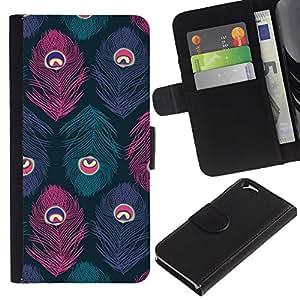 EJOY---La carpeta del tirón la caja de cuero de alta calidad de la PU Caso protector / Apple Iphone 6 / --Pavo real del trullo Rosa Púrpura