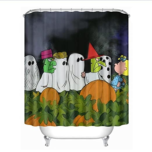 Wensy Clearance Fashion Happy Halloween Waterproof Polyester Fabric Shower Curtain 66 X 72inch A