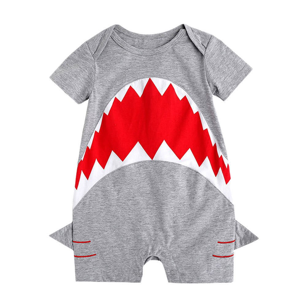 ba1e5795690 Cotton Blended Imported Snap closure. Fashion and trendy unisex newborn  infant toddler baby boys girls short sleeves rompers with cartoon animal  shark ...