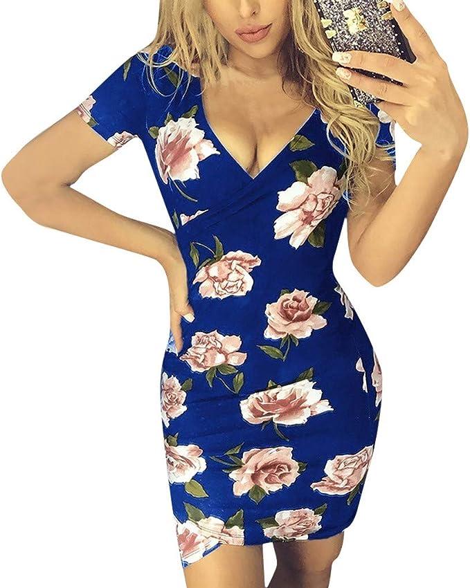 Kolila Damen Bodycon Kleid Kreuz Tiefem V Ausschnitt Blumendruck Kurzarm Kleid Lassig Mini Kurzes Kleider Amazon De Bekleidung
