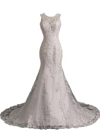 Ice Beauty Sleeveless Lace Beads Sheer Mermaid Wedding Gowns Bridal ...