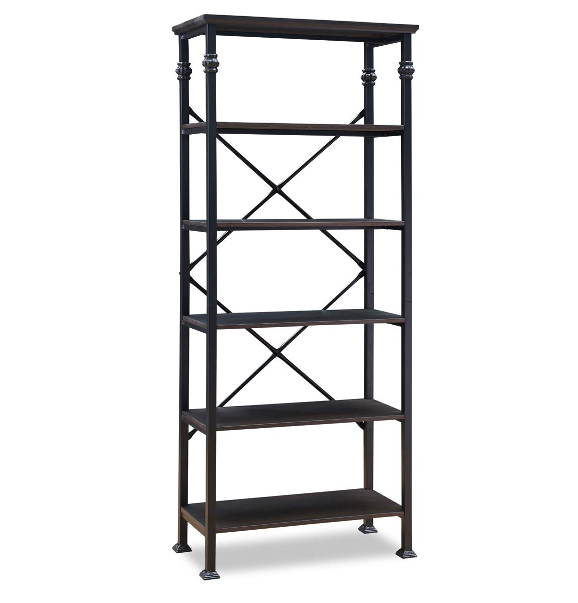 O K FURNITURE 6-Tier Open Back Bookshelf, Industrial Style Bookcases Furniture Decor Home Office, Black-Espresso