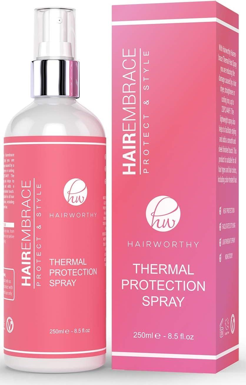 Hairworthy Hairembrace Spray Protector Contra el Calor para Estilismo Térmico. Recupera el Brillo de tu Cabello, Sin Ningún Rizo, Protegiendo & Estilizando.