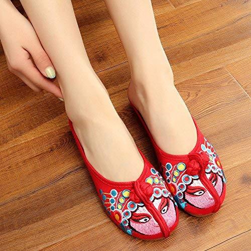 Suola Infradito Scarpe Sandali 38 Ricamate Rossi Eeayyygch Dimensione Casual Stile Comodi Fashion Tendine colore Donna Etnico A fH0dEqdw
