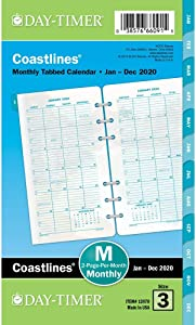 """Day-Timer 2020 Monthly Planner Refill, 3-3/4"""" x 6-3/4"""", Portable Size 3, Two Pages Per Month, Loose Leaf, Coastlines (13970)"""