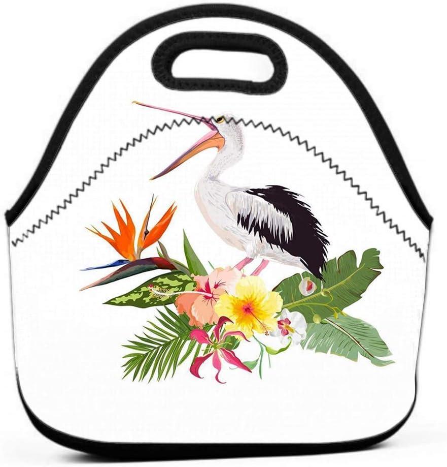 Bolsa de almuerzo, Transporte térmico Diseño gourmet de verano tropical Pájaro pelícano Flores exóticas Aves acuáticas Plantas tropicales Hojas de palmeras Imprimir