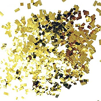 Premium Shredded Squares Tissue Paper Party Table Confetti - 50 Grams (Gold Mylar Flakes)