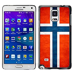 Paccase / SLIM PC / Aliminium Casa Carcasa Funda Case Cover - National Flag Nation Country Norway - Samsung Galaxy Note 4 SM-N910F SM-N910K SM-N910C SM-N910W8 SM-N910U SM-N910