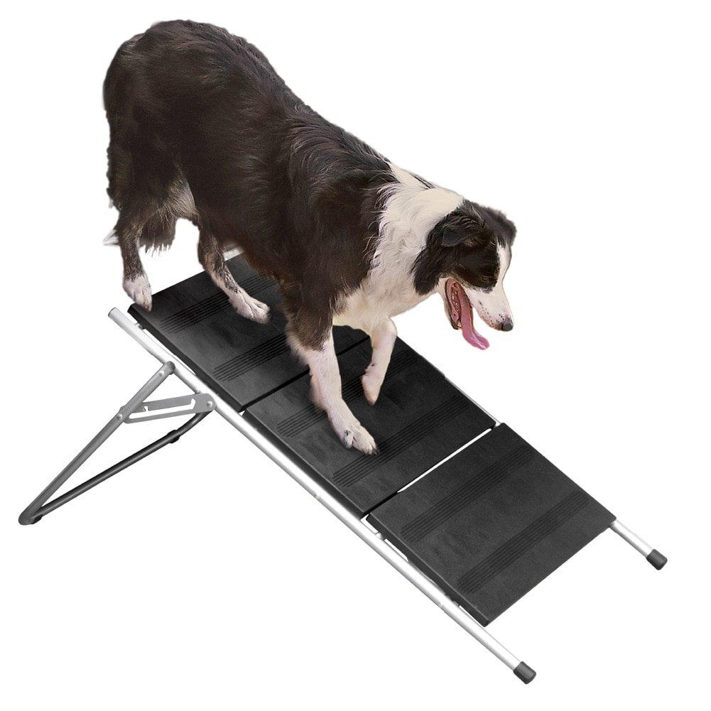 "Folding Metal Dog Stairs & Ramp – 17"" High 3 Step Pet Stairs – Dog Steps"