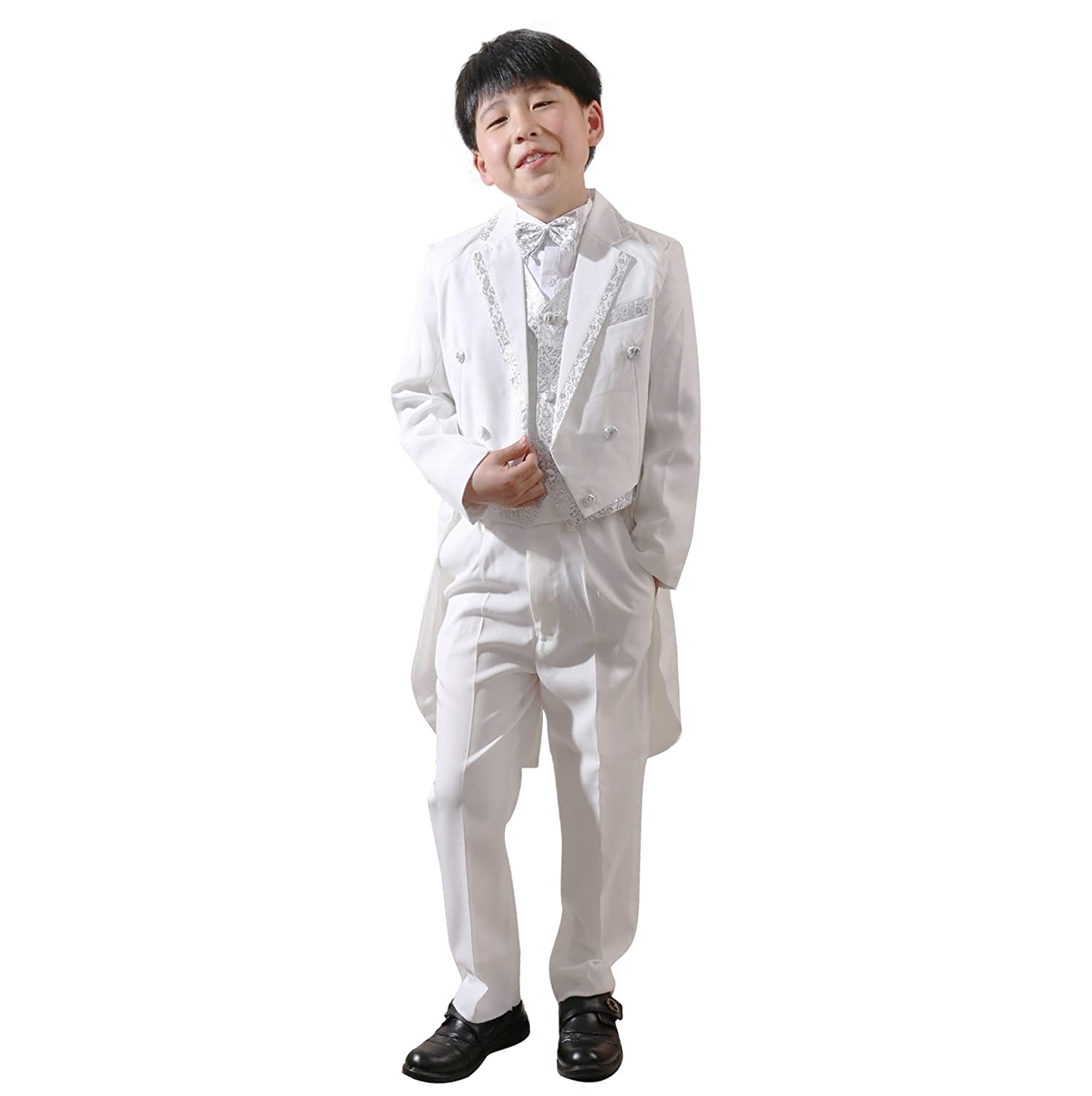 4Pcs Toddler Boy Formal Tuxedo Children Long Tail Wedding Party Suit