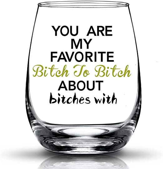 Amazon.com | JERIO You're My Favorite, Best Friend Gifts for Women Funny  BFF Birthday Gift Idea Girls Bachelorette Party Presents 15 oz Stemless  Wine Glass: Wine Glasses