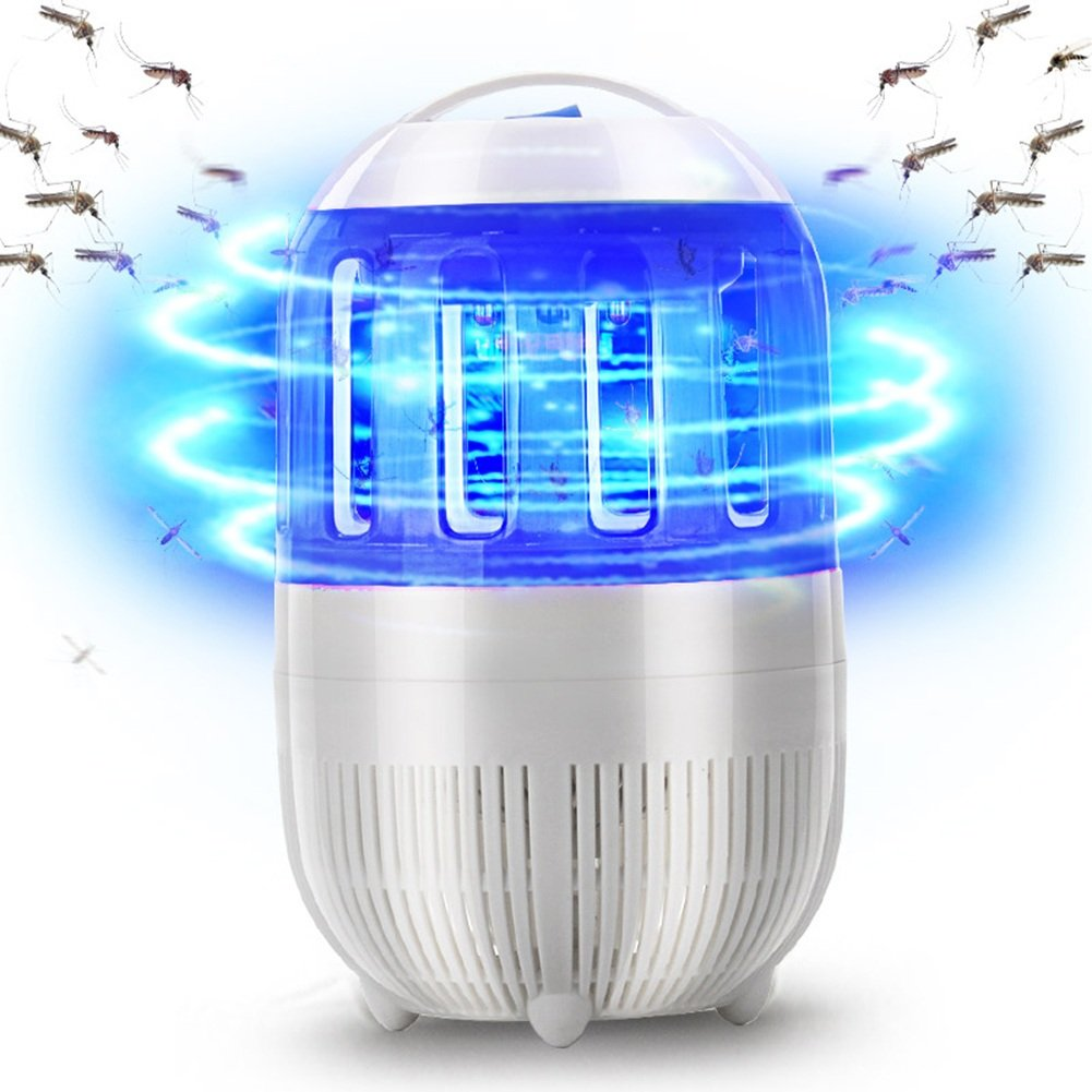 LIXIONG Ammazza Zanzare Lampada LED Domestico Tipo di aspirazione Zanzare a 360 Gradi Libera Radiazioni Tipo di Spina elettrica, 3 Colorei, 12.5  22cm (colore   Blu)