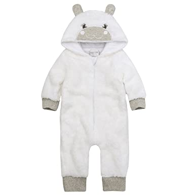 cb36c6fbf441 Baby Girls White Lamb Snuggle Fleece All in One Hooded Soft Cute ...