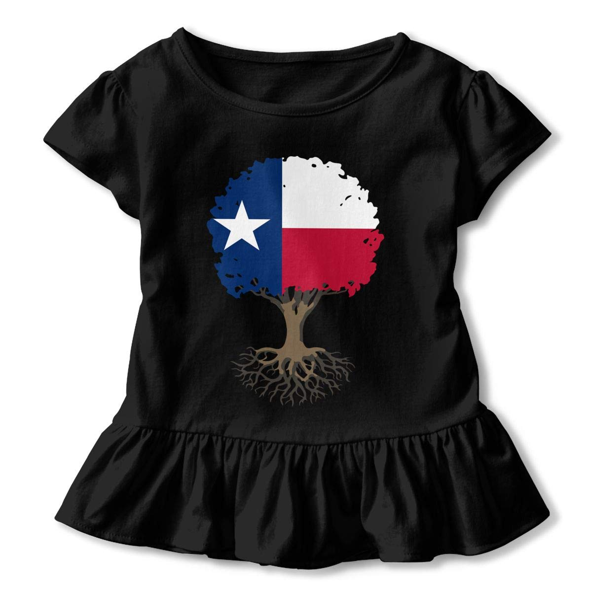 HYBDX9T Little Girls Tree of Life with Texas Flag Funny Short Sleeve Cotton T Shirts Basic Tops Tee Clothes