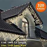 ICICLE Lights 320 LED Warm White Indoor & Outdoor Christmas Lights Fairy Lights 11m / 36 ft with 10m / 33 ft Lead Wire- Multi-Action - Clear Cable