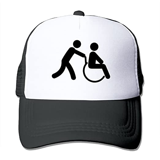 4c10c06a2ef76 Men Women Disabled Wheelchair Mesh Snapback Hats Adjustable Trucker Hat at  Amazon Men s Clothing store