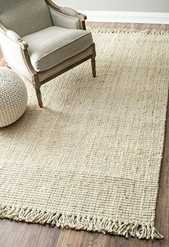 Handmade Eco Natural Fiber Chunky Loop Jute Bleached Area Rugs, 6 Feet by 9 Feet (6′ x 9′)