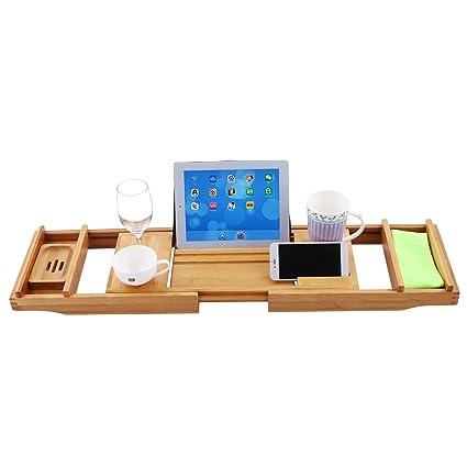 Amazon.com: Luxury Bamboo Bathtub Caddy, Expandable Serving Bath ...