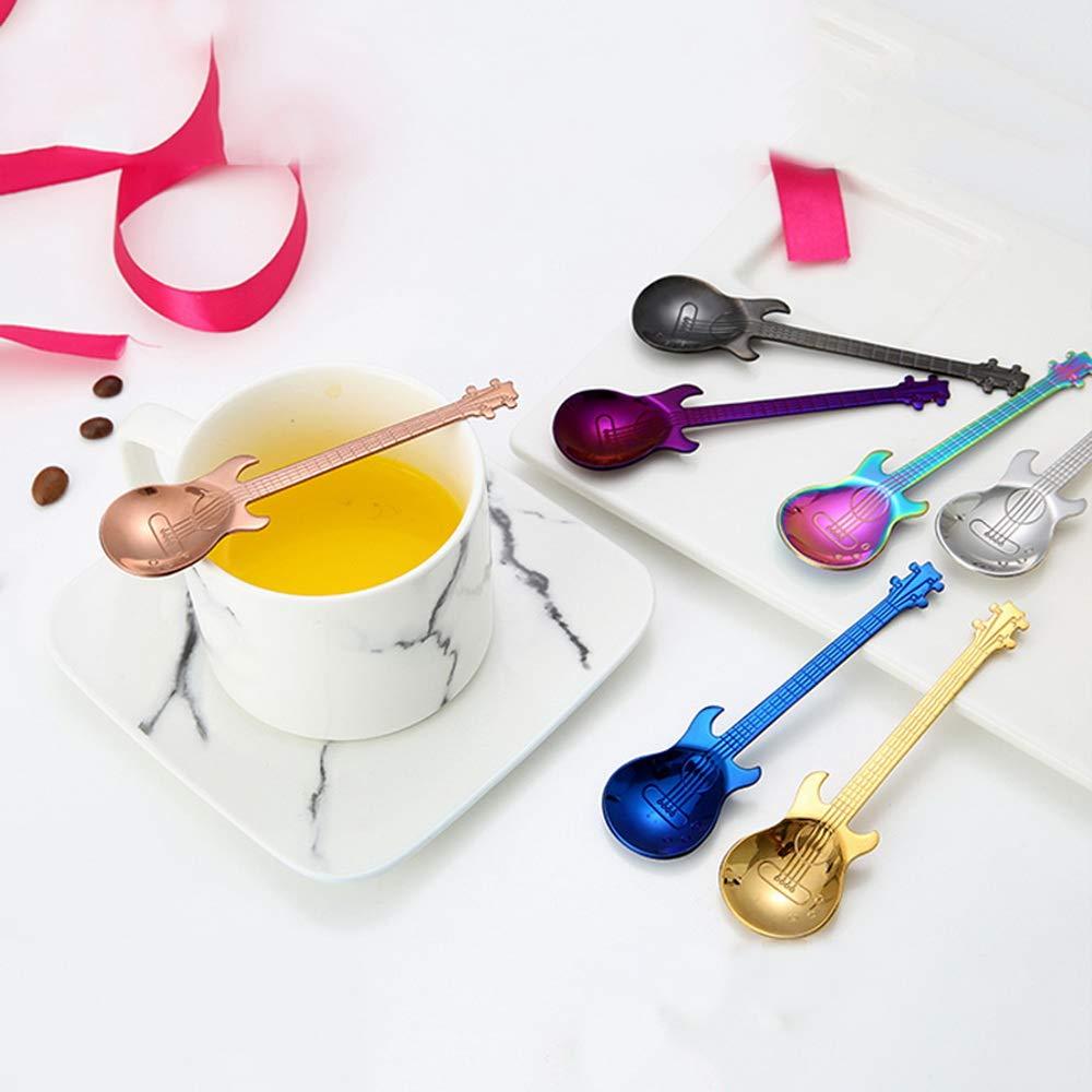 Cuchara de caf/é para guitarra plata//oro//oro rosa//colorido//azul//negro Godagoda acero inoxidable, cuchara de t/é, cuchara de caf/é, accesorios para tartas