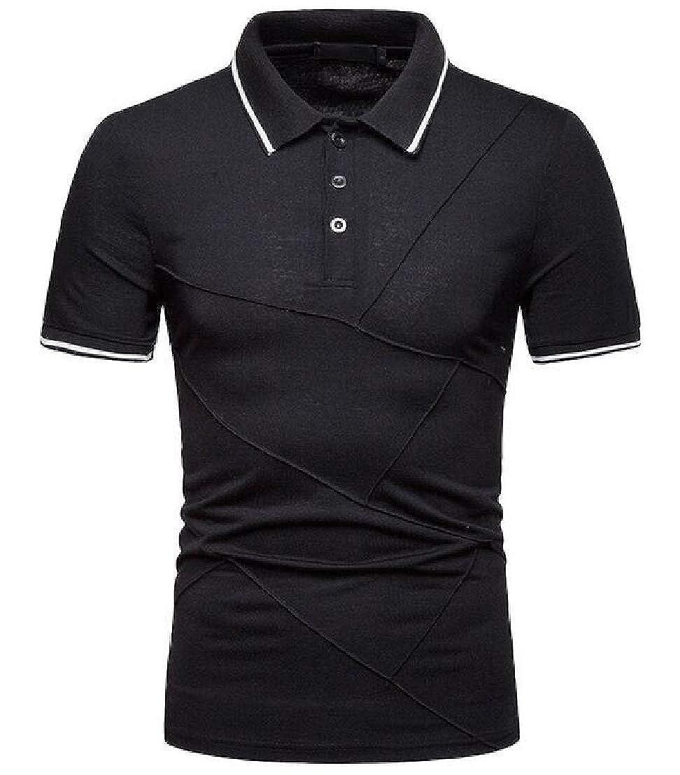 UUYUK Men Short Sleeve Basic Hipster Ruched Spliced Leisure Polo Shirt
