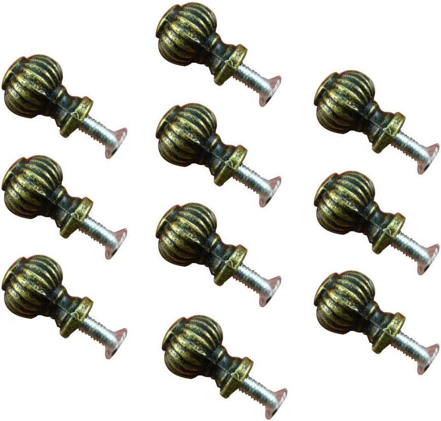 Haidong 10Pcs Zinc Alloy Antique Mini Round Lantern Drawer Wardrobe Jewelry Box Knobs Single Hole Handles for Dresser Closet Chest Drawer Wooden Jewelry Box Cases Pull (Bronze)