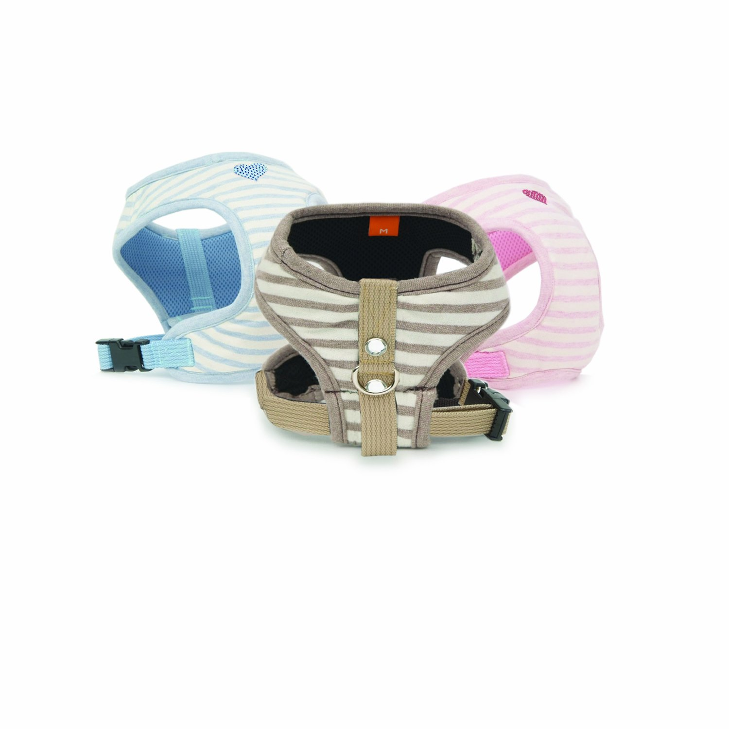 Puppy Angel Stripey Heart Body Harness, M, Pink