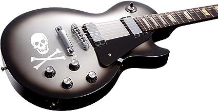 Calavera – Cuerpo adhesivo gráfico para guitarra acústica y eléctrica, color blanco