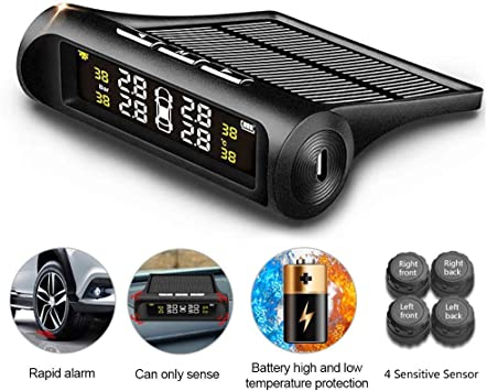 Zeepin Solar Wireless TPMS Auto Reifendruck Monitor System 4 Externer Sensoren